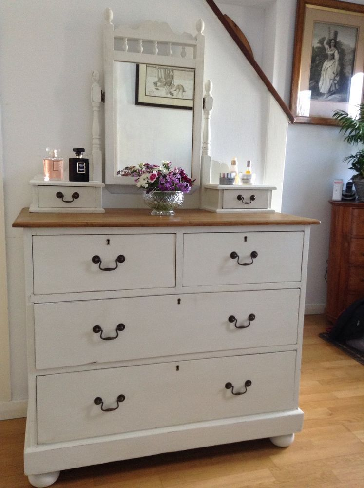 Early Victorian Country Pine Shabby Chic Dressing Table/ Drawers Annie Sloan