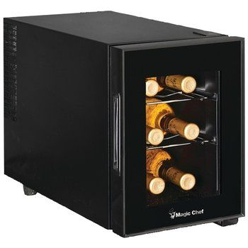 Magic Chef 6 Bottle Wine Cellar Thermoelectric Cooling Adjustable Temp Control Chrome Shelves And Interi Best Wine Coolers Wine Coolers Drinks Wine Fridge