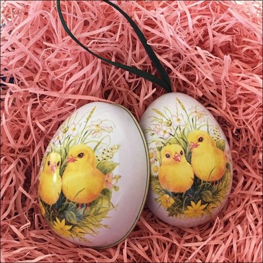 chicks and flowers metal easter egg ornament tin 2 12 tall - Images Of Easter Eggs 2
