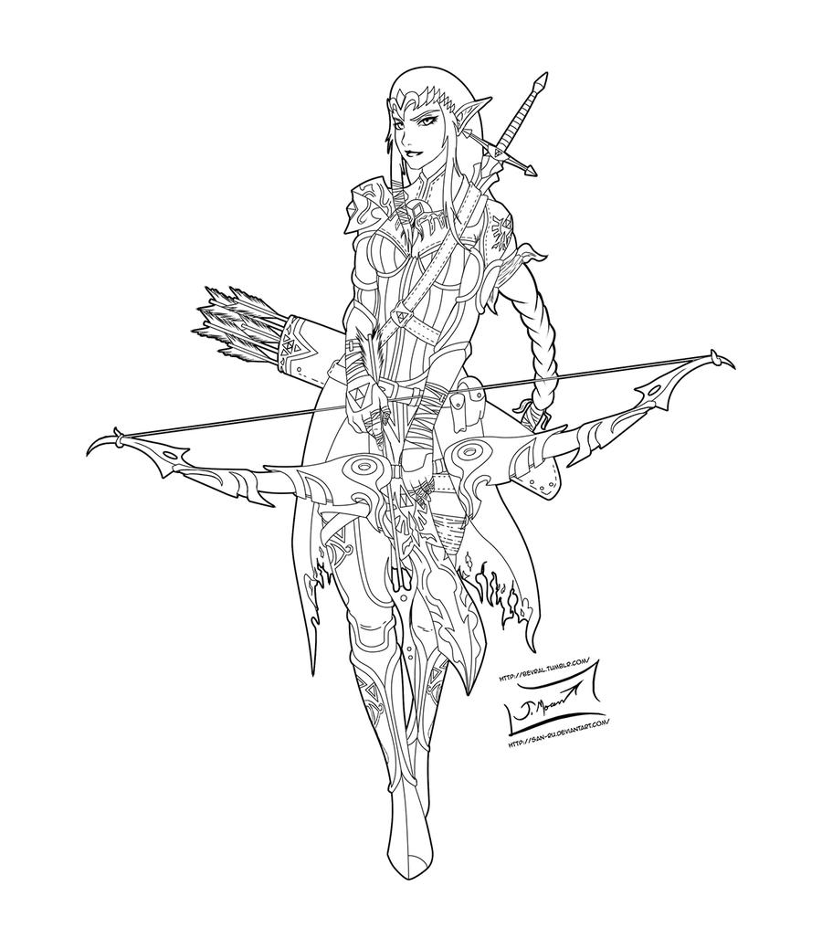 Warrior Princess Zelda Lineart By San Ru Coloring Pages Art Line Art