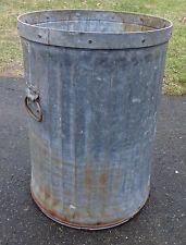 C1930 Galvanized Steel Trash Garbage Can W Side Handles Fluted