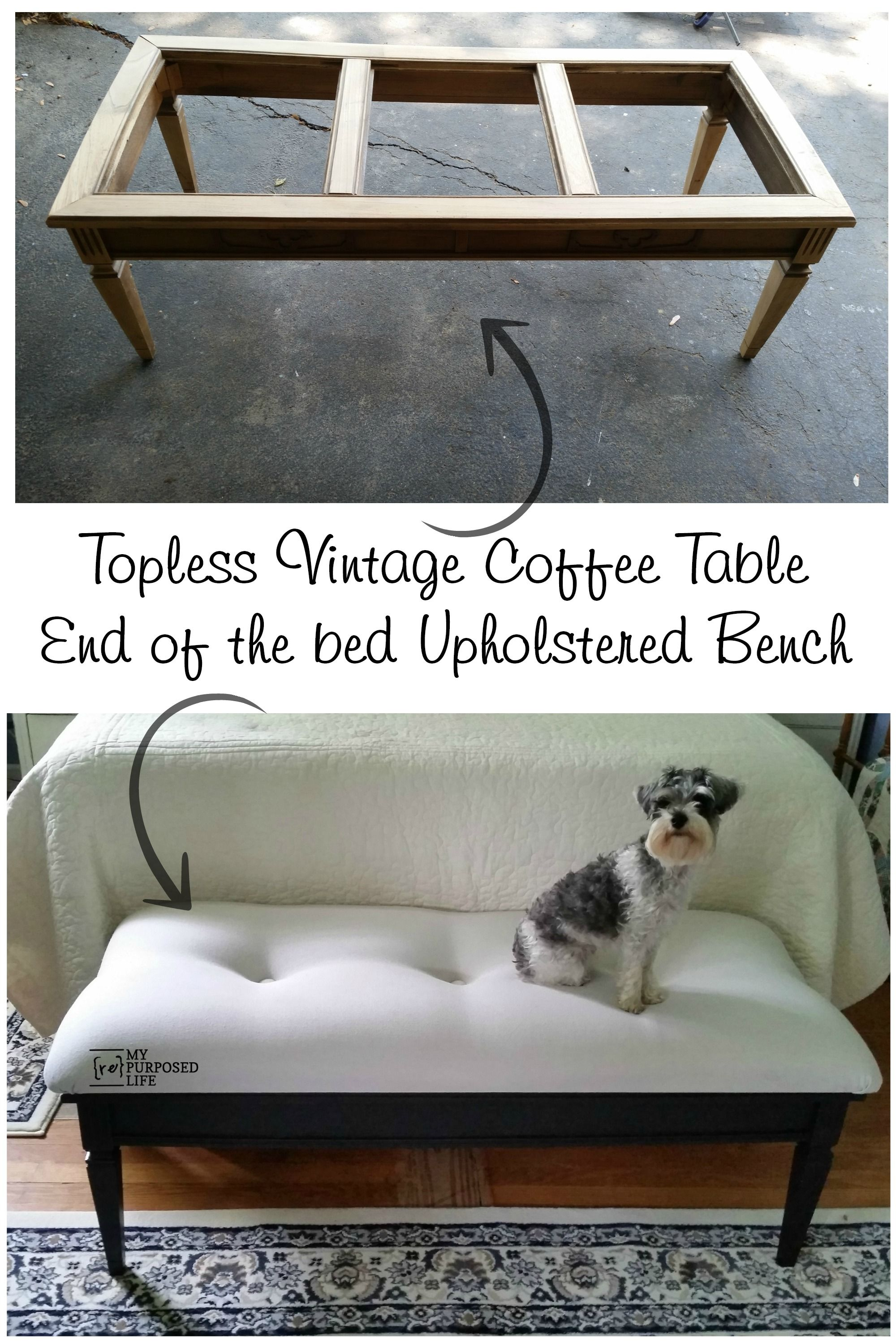 Coffee Table Bench Easy Button Tufted Upholstery My Repurposed Life Rescue Re Imagine Repeat Coffee Table Bench End Of Bed Bench Coffee Table Vintage