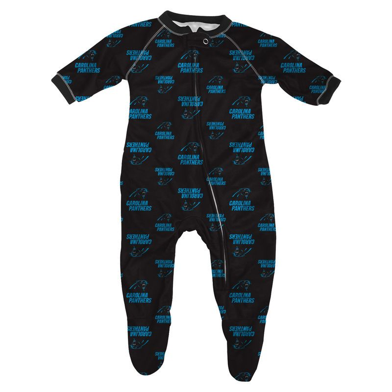 uk availability 5d94e 1b663 Carolina Panthers Infant Piped Raglan Full Zip Sleeper ...