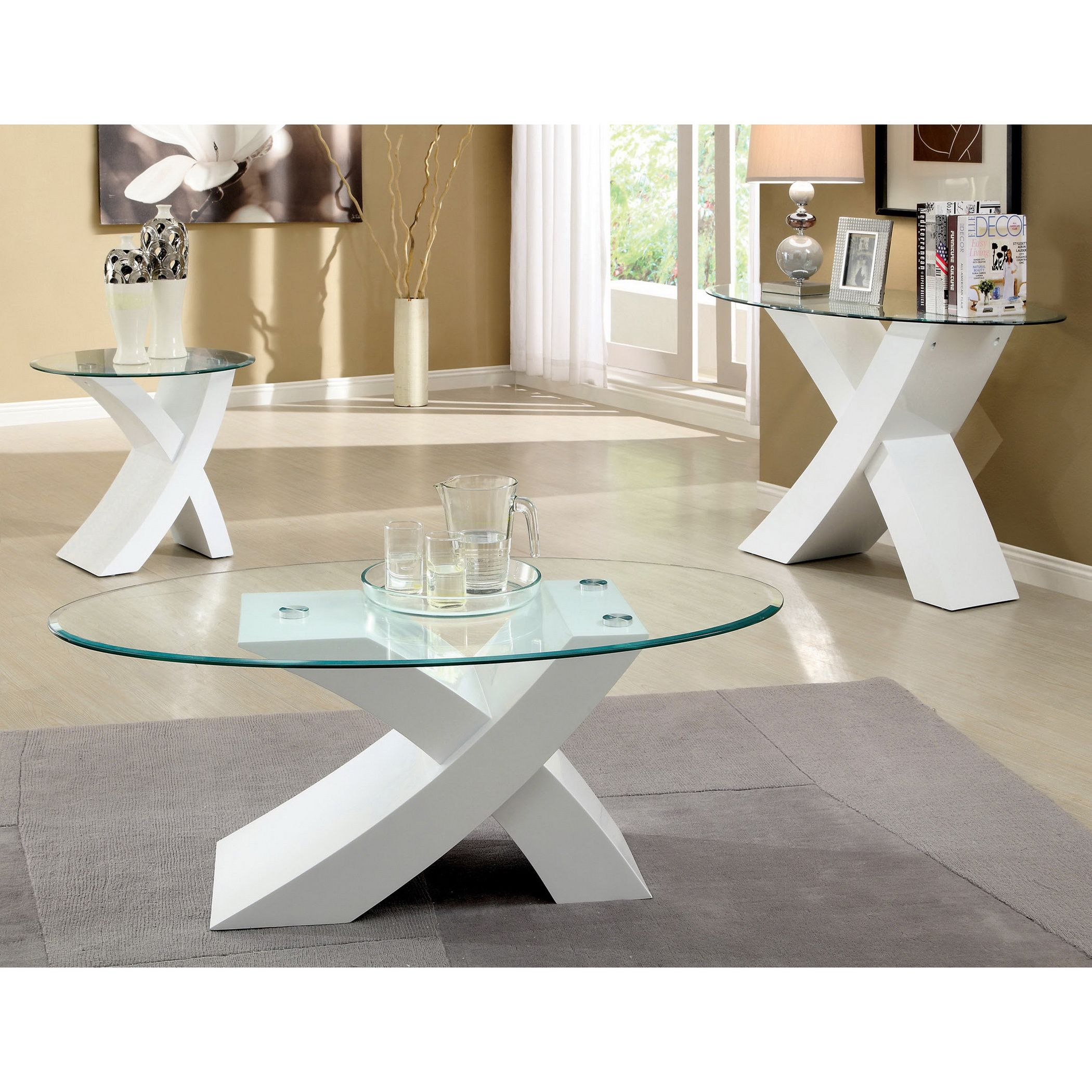 Furniture of America Cass 3-piece Modern Accent Sofa Coffee End Table Set  sc 1 st  Pinterest & Furniture of America Cass 3-piece Modern Accent Sofa Coffee End ...