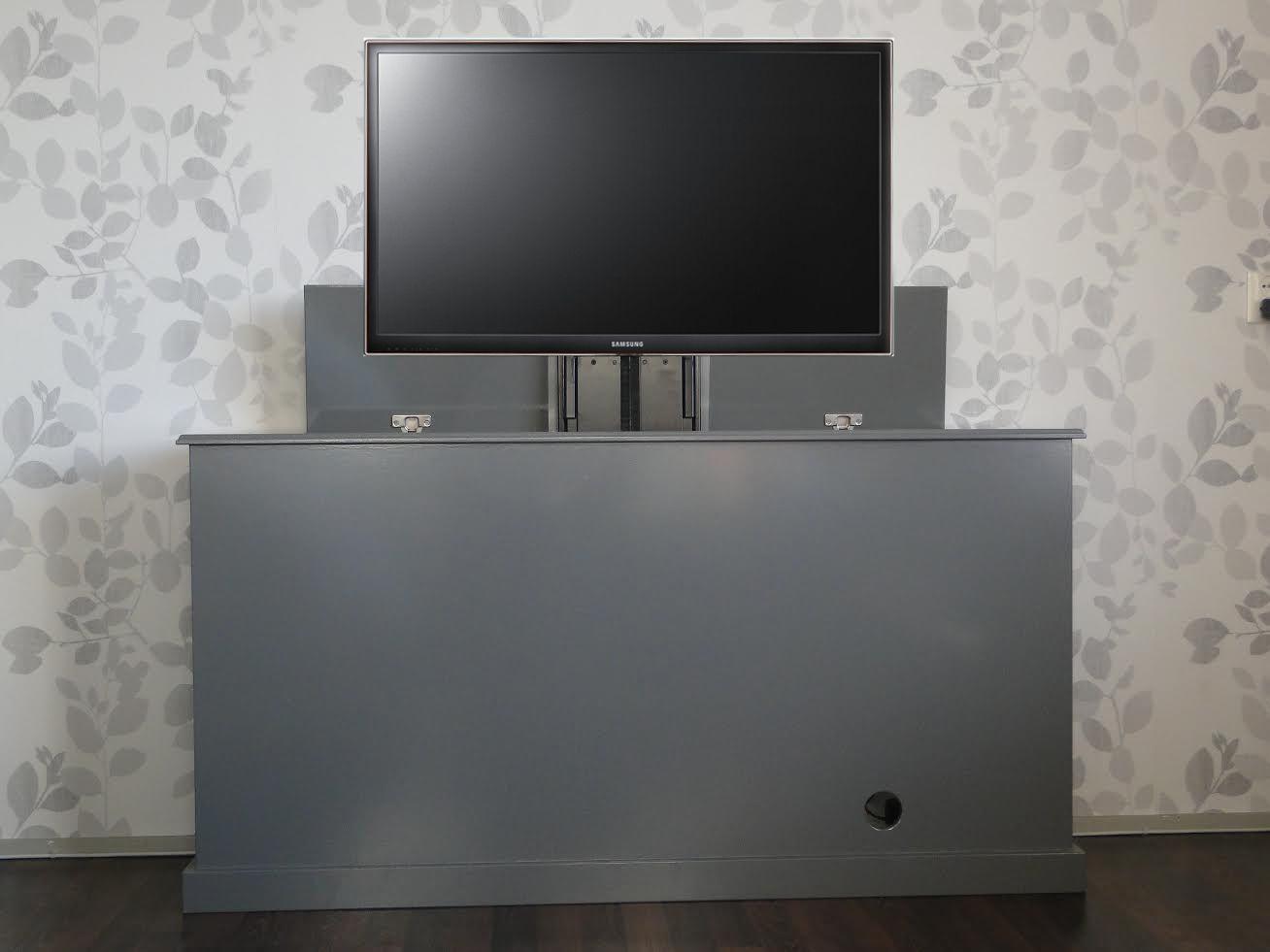 tv kast. landelijke tv kast met lift grijze uitvoering | luuksdesign.nl n