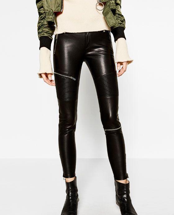 Image 2 Of Faux Leather Biker Jacket From Zara Zara Leather Pants Leather Moto Pants Zara Leather