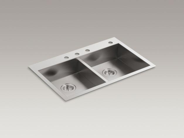 Kohler K 3996 4 Vault Dual Mount Kitchen Sink With Four Faucet