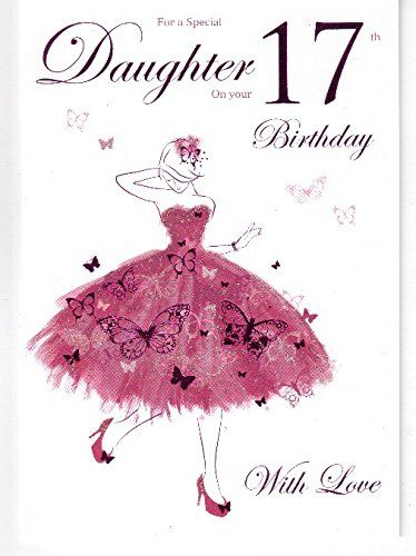 For A Special Daughter Happy 17th Birthday Card Purple Butterfly
