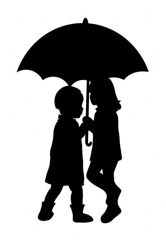 Enfants sous parapluie silouhette pinterest pochoir - Parapluie dessin ...