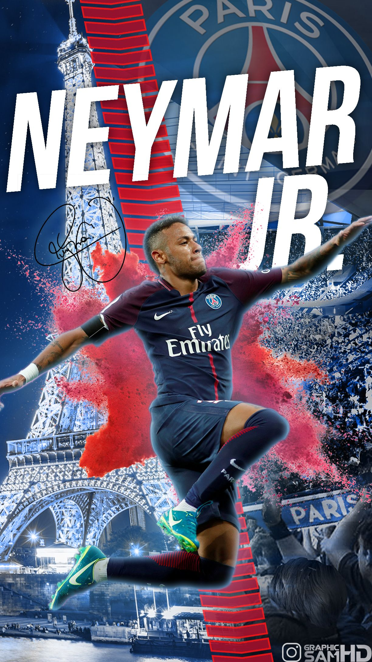 Neymar Jr PSG Phone wallpaper 2017/2018 Neymar jr