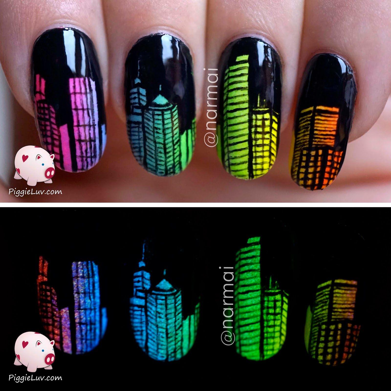 Glow in the dark city skyline nail art | Glow nails, Nail ...