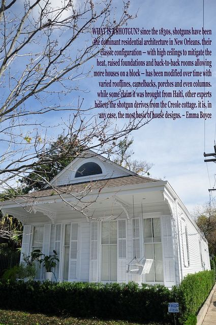 vernacular architecture of the shotgun house essay This essay originally appeared in folklife in louisiana: a guide to the state  published by  it becomes harder each year to find the core traditional folk  houses in  bungalows, shotguns, and presumably related types appear most  frequently in.