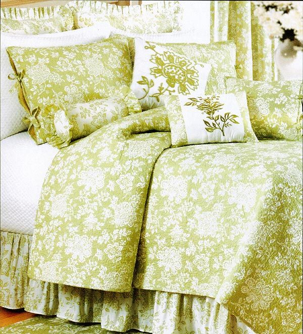 Apple Green Quilts Batik Green And White Toile Quilt