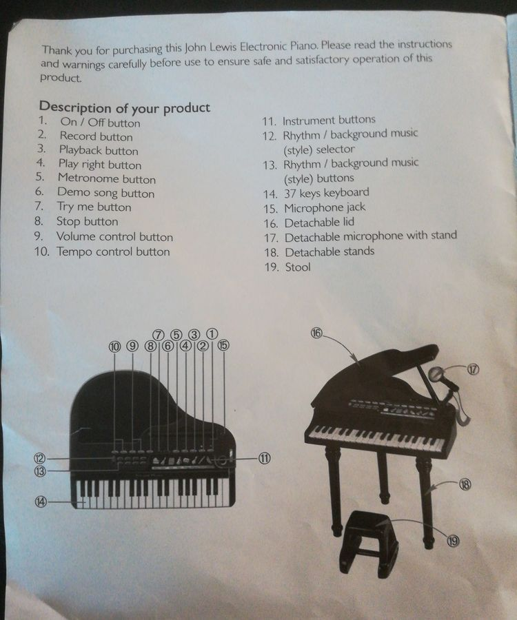 Children's Keyboard Electronic Grand Piano By John Lewis