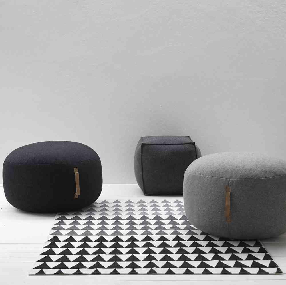 Design Vintage | Grey Wool Pouffe | Grey Felt Pouf | Hubsch | 椅凳 ...
