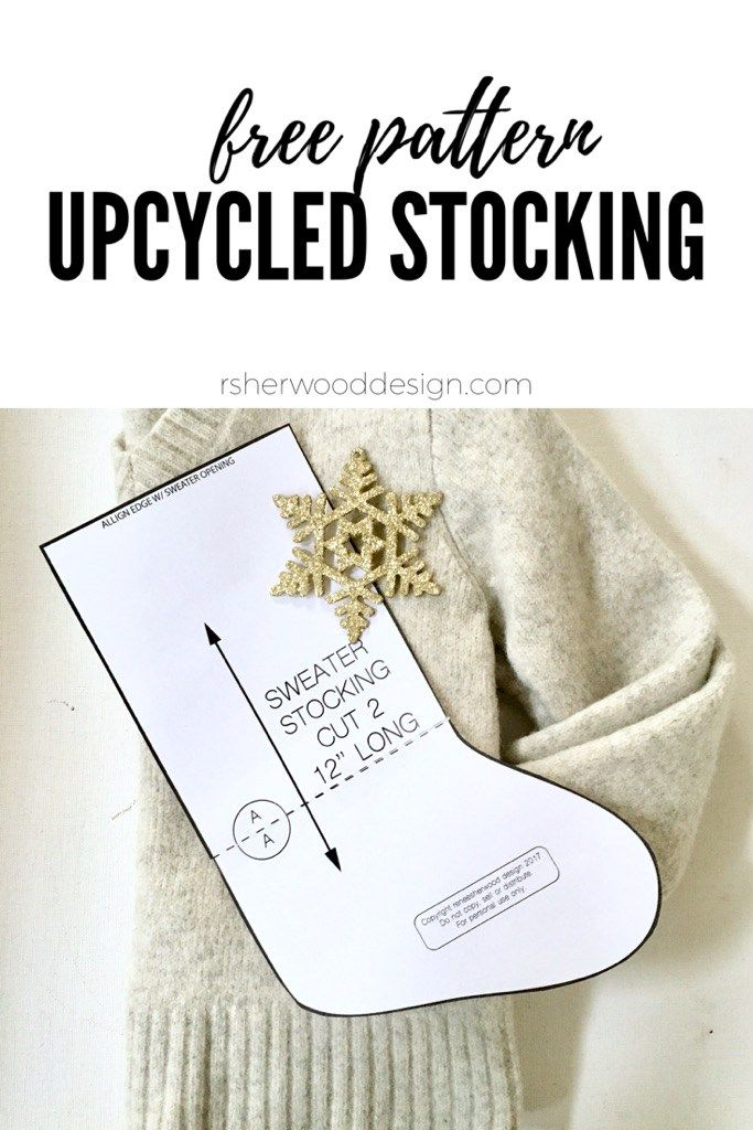 ce83120cf55a7 Christmas Stocking DIY free template and tutorial - how to recycle a felted sweater  into a stocking. Want more great ideas