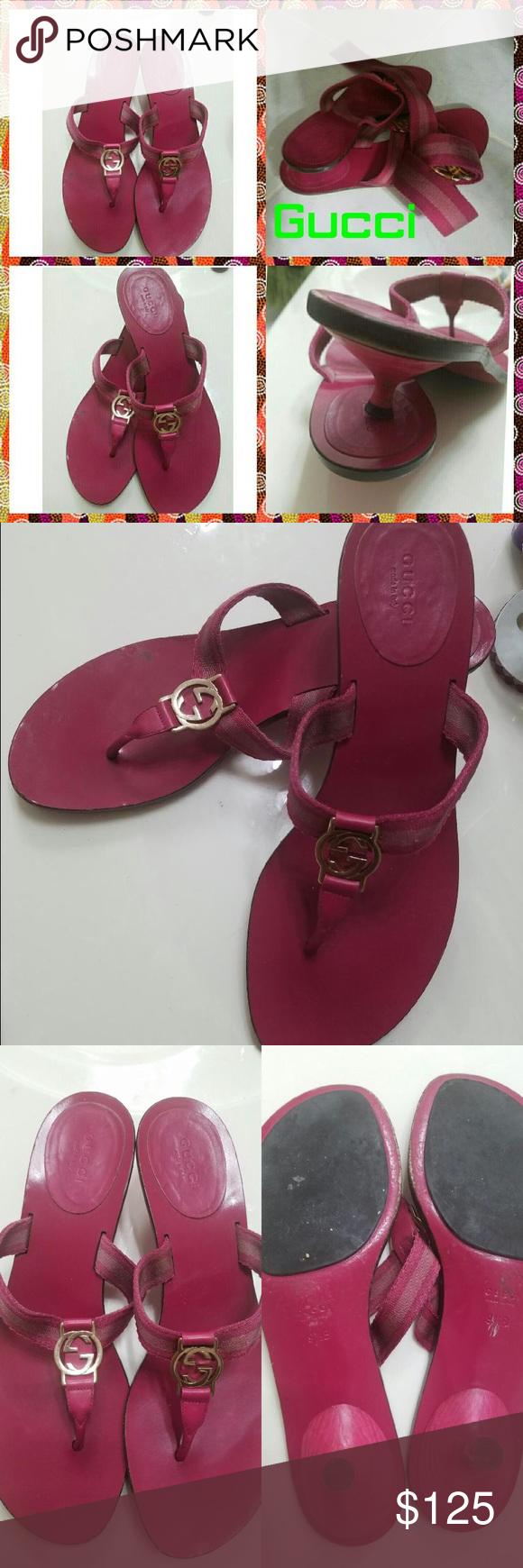 e80dbabd1 Pink Gucci ribbon thong sandal Authentic pink ribbon thong GG Gucci sandal  kitten heel with metal GG on ribbon. Black sole barely worn size 91 2  matching ...