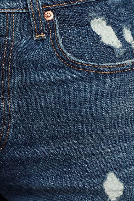 Lulus | Ribcage Medium Wash High-Rise Denim Cutoff Shorts | Size 24 #denimcutoffshorts