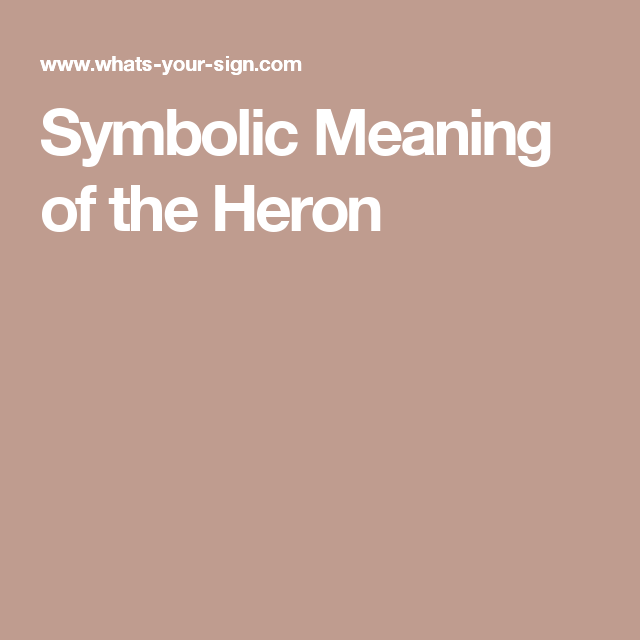 Symbolic Meaning Of The Heron Being A Girl Pinterest