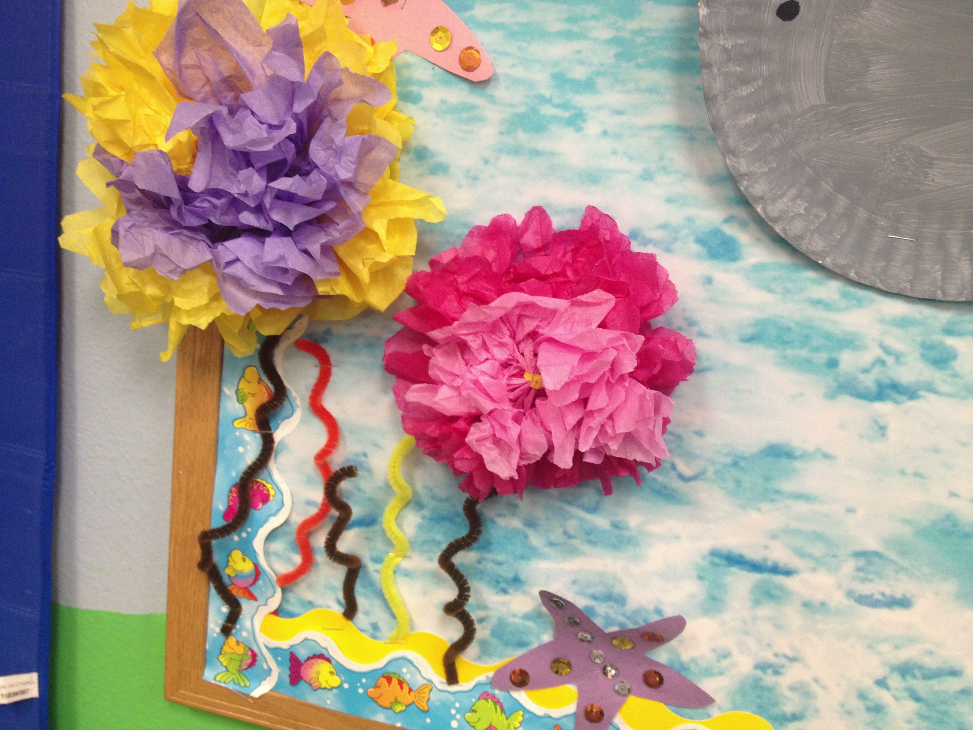 coral reefs or ocean flowers using tissue paper flowers