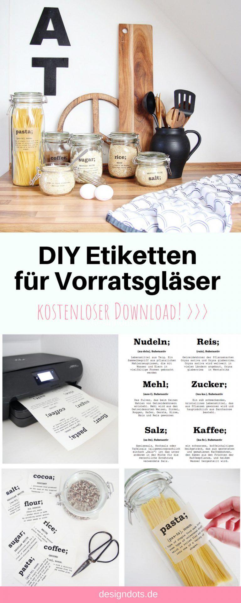 DIY Etiketten für Vorratsgläser zum ausdrucken #kitchenorganizationdiy