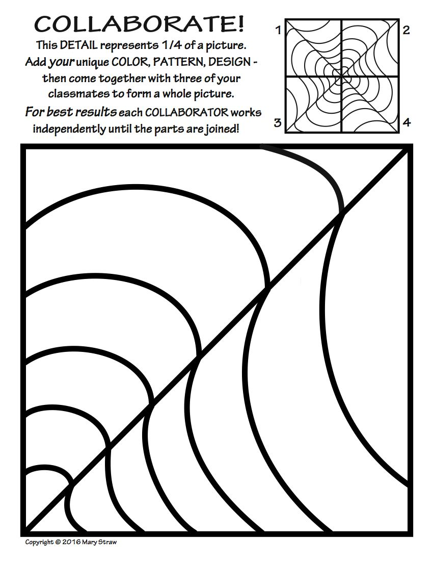 Radial Symmetry Collaborative Activity Coloring Pages Collaborative Art Projects Symmetry Art Class Art Projects