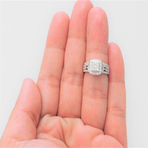 Clearance 14k White Gold Diamond Flower Split Shank Bridal Set