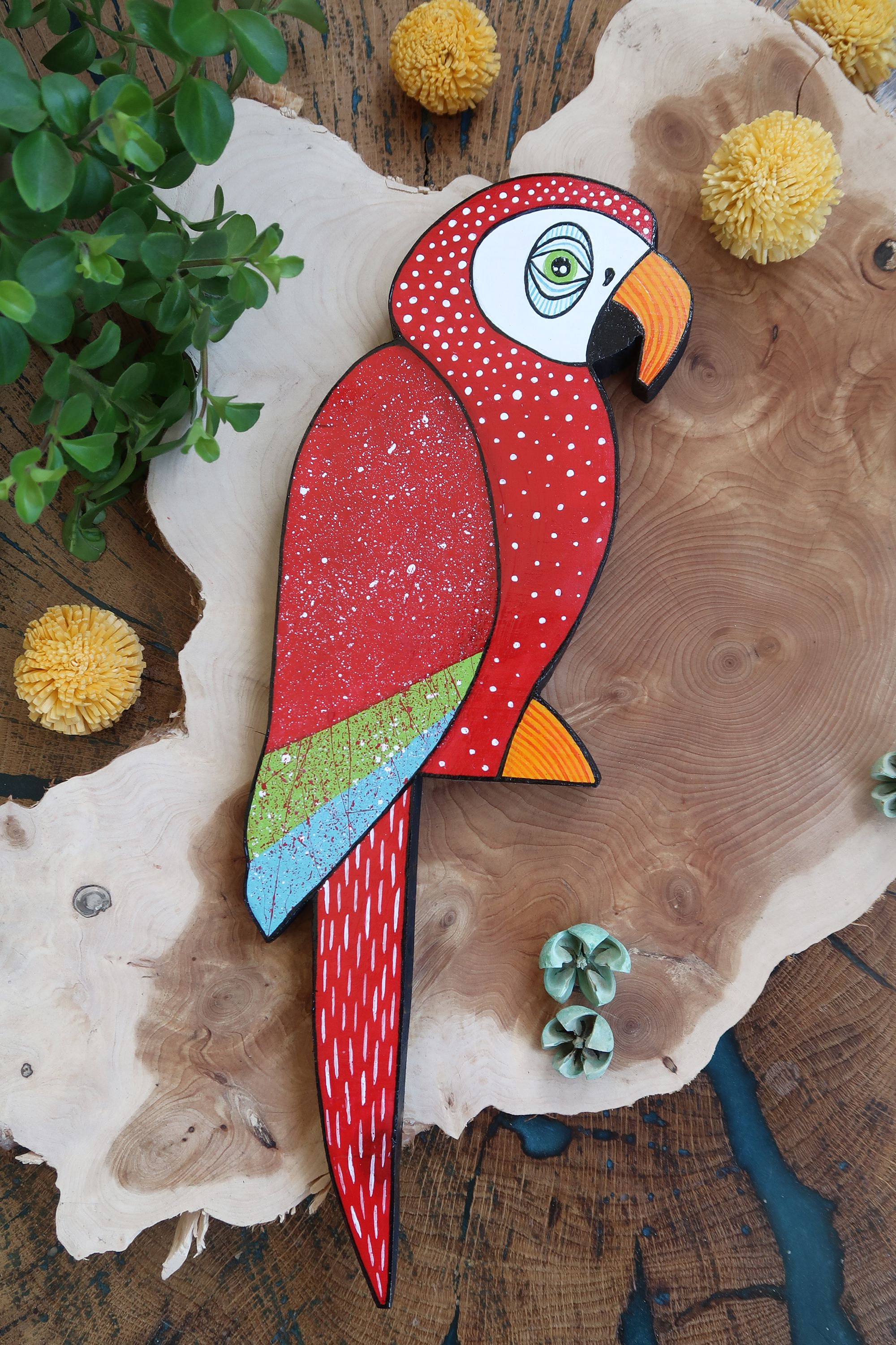 Red Parrot Home Decor Decoration Ornament Shelf Wall Jungle Inspired Wooden Hand Painted Bird Hand Painted Folk Decor Wooden Bird