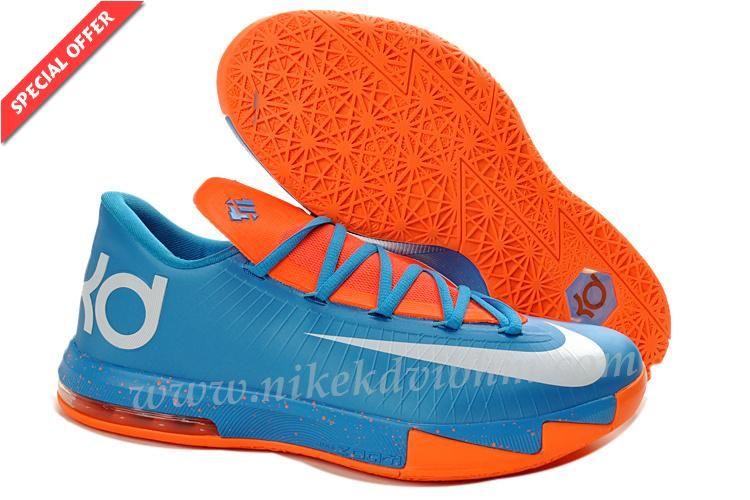 new styles 01fb2 d4167 New Nike Zoom KD 6 Hommes Bleu Orange Blanc 599424 088 Discount