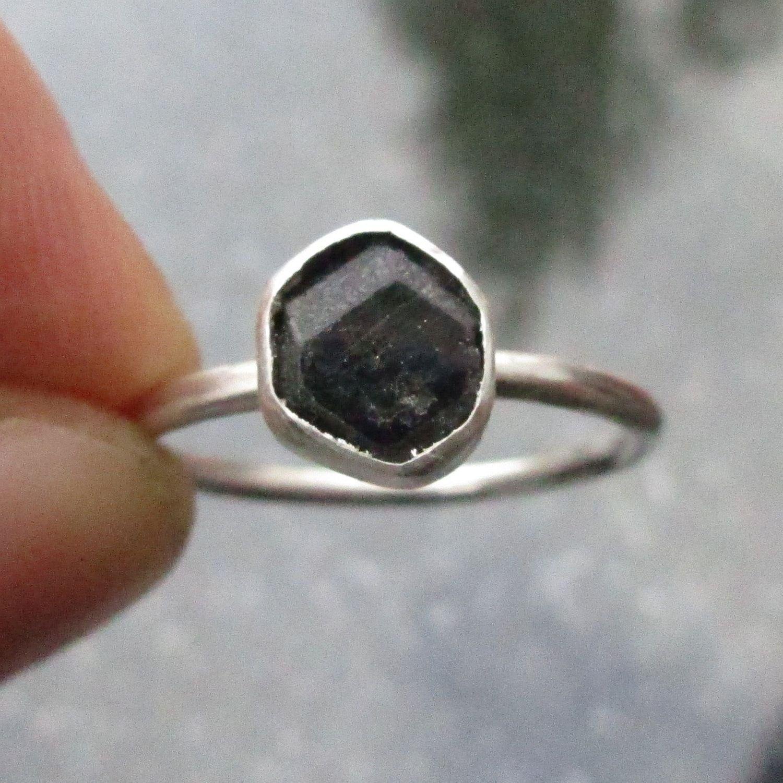 Size 5,natural obsidian 925 sterling silver semi-precious stone handmade rings