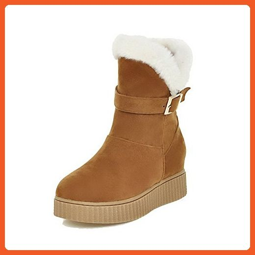 Women's Kitten-Heels Solid Round Closed Toe Frosted Zipper Boots Yellow 42