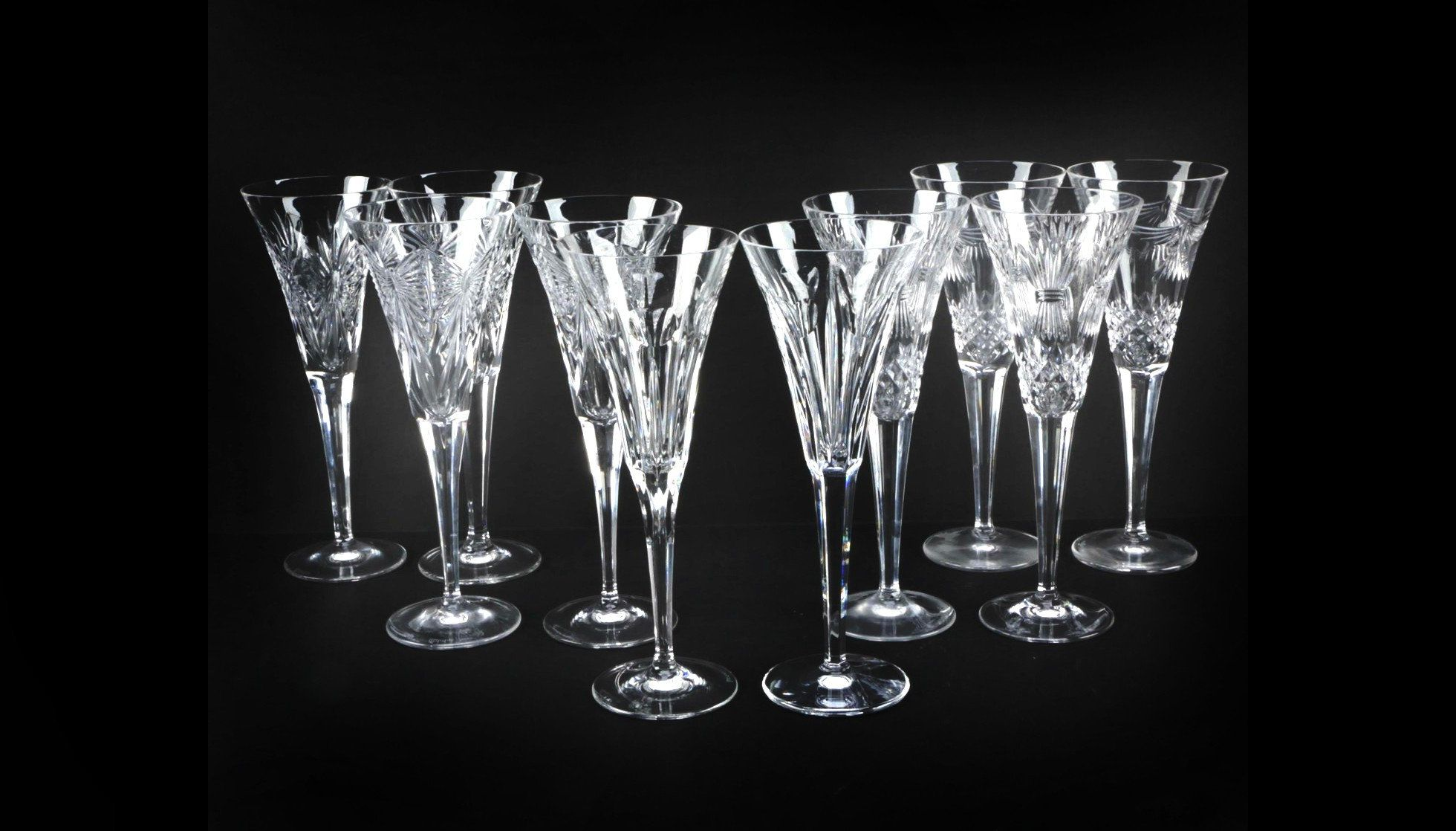 Waterford Champagne Flutes Crystal Millennium Collection Complete Toasts To Humanity Happiness Love Crystal Champagne Flutes Vintage Crystal Champagne Flutes