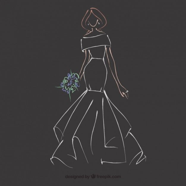 Download Hand Drawn Bride Dress Sketch for free