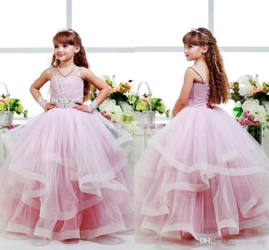 Pink Glitz Flower S Dresses Child Ball Gowns Spagheti Strap Kid Party Birthday Communion Dress Back