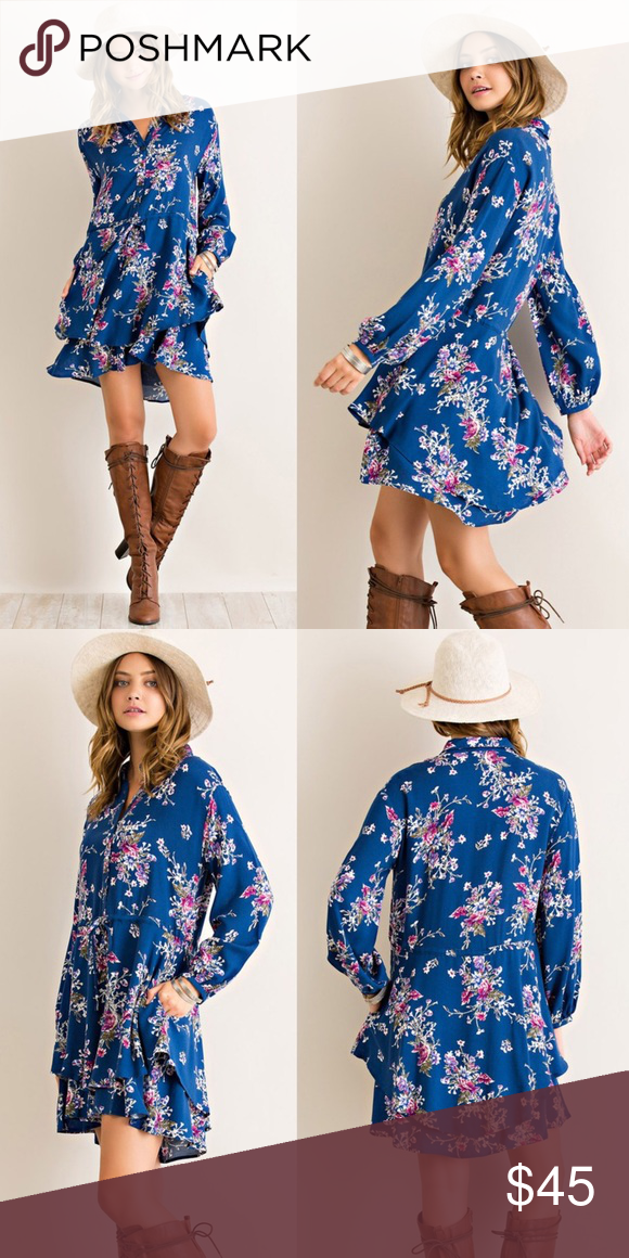 Sheer floral long sleeve dress