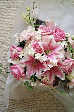 Pretty Pink And White Bouquet I Love The Stargazer Lilies Pink