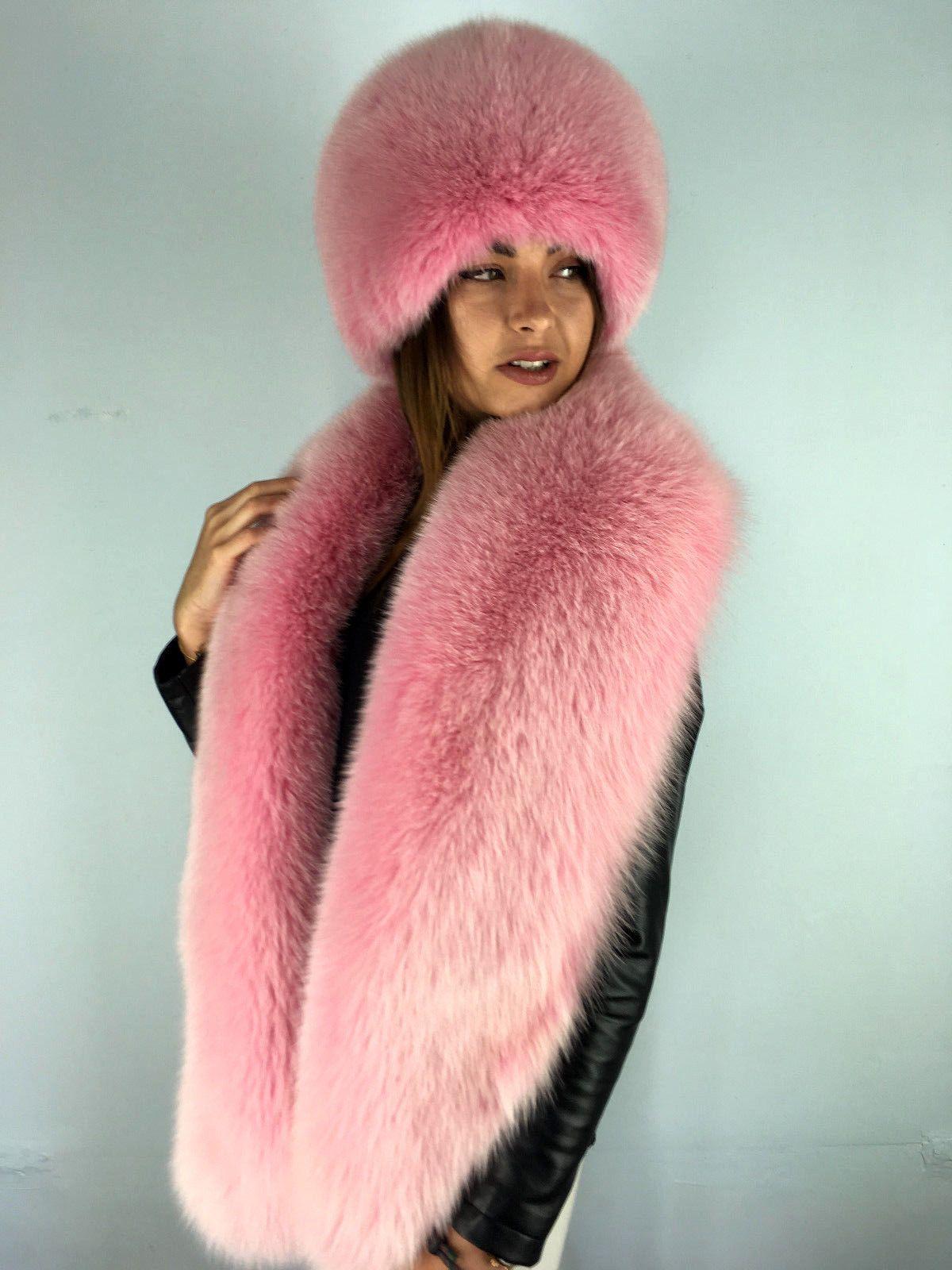 95400b369bb Dyed Arctic Fox Fur Boa + Full Hat. Stole is 70  Inch. Collar and Hat Set.  SAGA