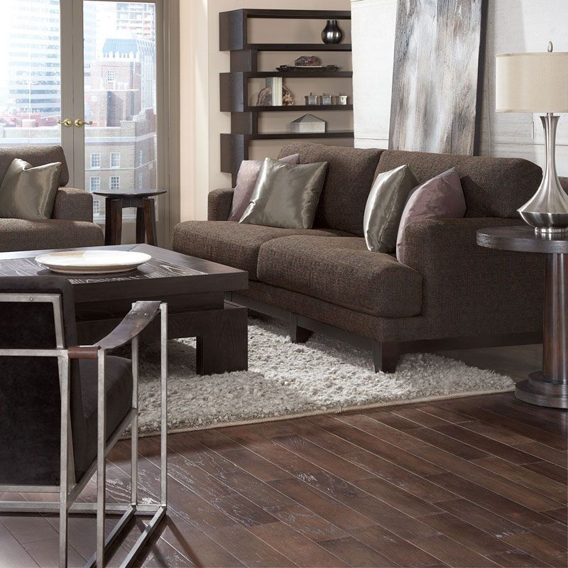 "Bernhardt | Inspiration Living Rooms: ""Occasional"" room setting with ""Barrie"" sofa and ""Dekker"" chair."
