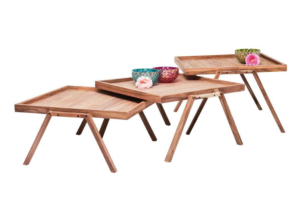Beistelltisch Set Couchisch Set Valencia Tray 3-teilig Massivholz - couchtisch aus massivholz 25 designs