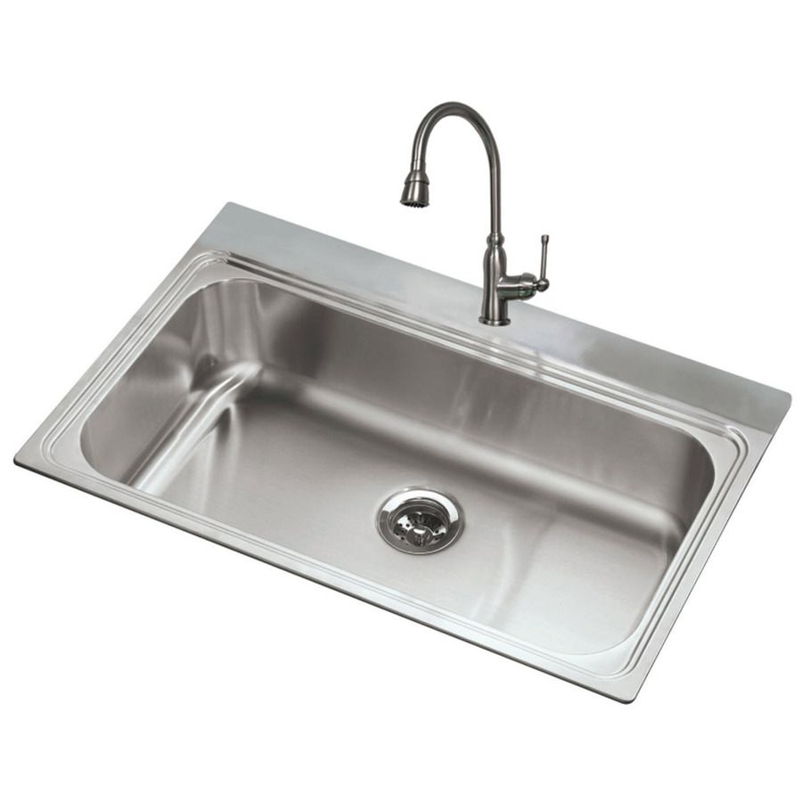 Shop American Standard 20 Gauge Single Basin Drop In Or Undermount Stainless Ste With Images Stainless Steel Kitchen Sink Kitchen Sink Faucets Stainless Steel Kitchen Sink
