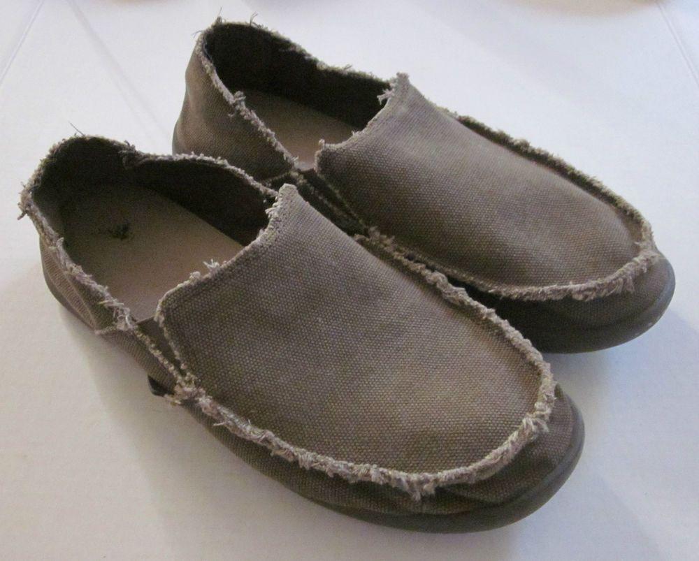 8ec9b6115 CROCS Men s Khaki Distressed Canvas Slip on Loafers Shoes Size 11 M  Crocs   LoafersSlipOns