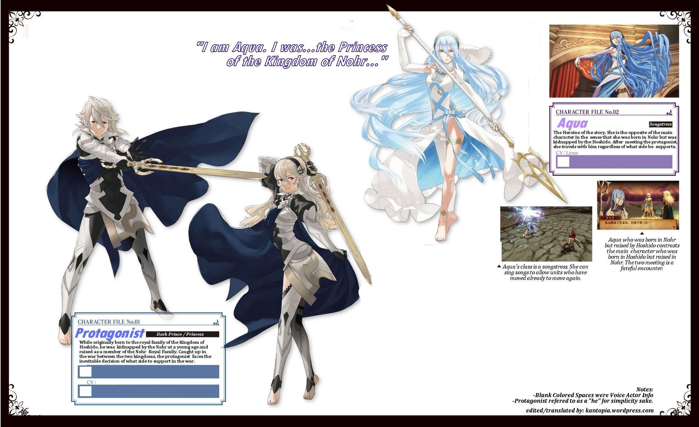 Fire Emblem If Protagonist Kamui Corrin And Aqua Azura Fire Emblem Awakening Fire Emblem Fire Emblem Fates