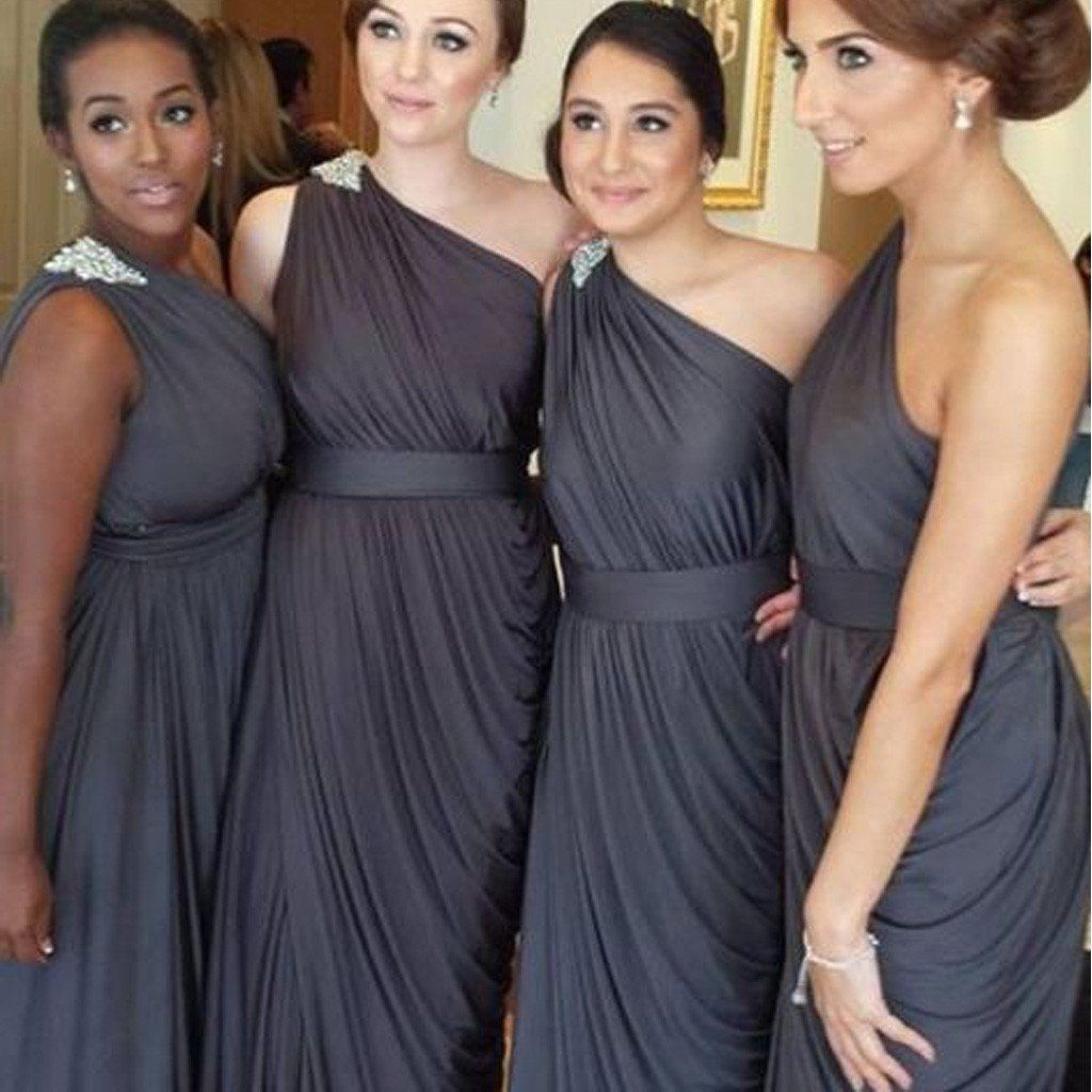 Pleating chiffon one shoulder dark grey floor length simple pleating chiffon one shoulder dark grey floor length simple elegant on sposadesses simple bridesmaid dressesdiscount ombrellifo Choice Image