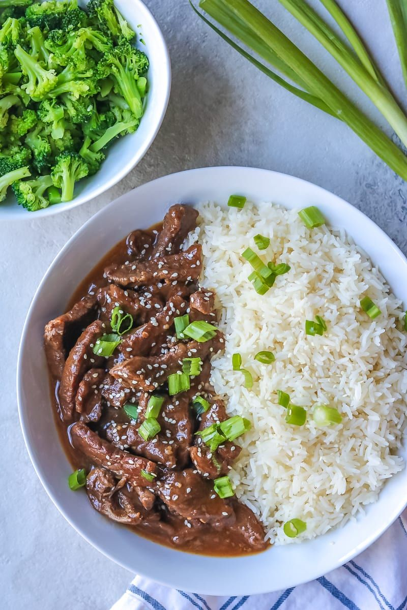 Instant Pot Mongolian Beef With Steamed Rice And Broccoli Plated