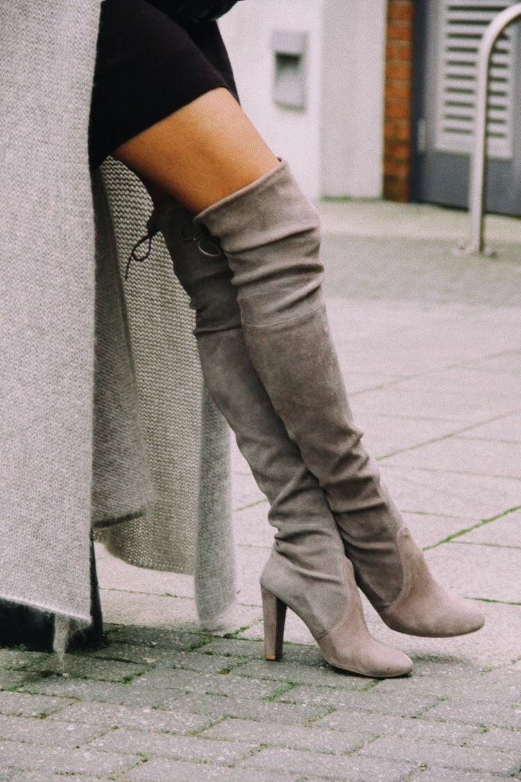 Grey thigh high boots | Boots, Over the
