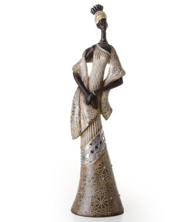 Figura Resina Mujer Africana Oro 16x13x63 cm.