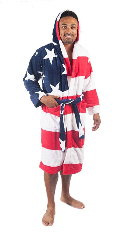 1af0d9a2851 Forever Lazy Unisex Coral Fleece 3 4 Length Bathrobe - American Flag -  C612MZ46JFY