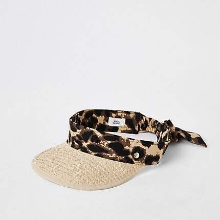 87f9b8073e84 Beige straw leopard print visor hat in 2019 | Products | Straw visor ...
