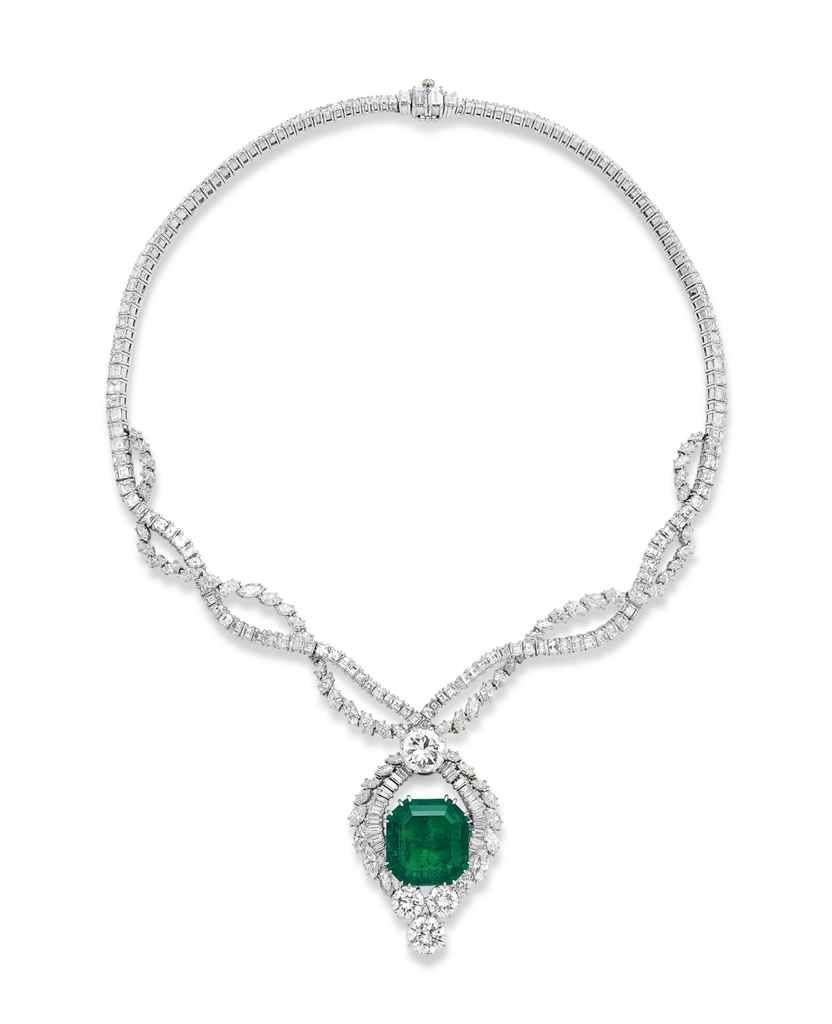 An emerald and diamond necklace by faraone the detachable