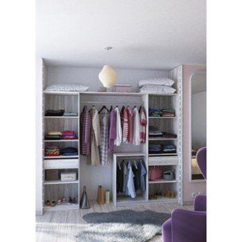Kit Dressing Effet Bois Blanc Relief New York H 249 X L 178 239 X P 45 Cm Leroy Merlin Amenagement Dressing Rangement Dressing Amenagement Placard